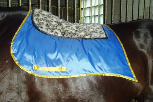 Вот вальтрап из пледа, который в эксплуатации больше года и неубиваемый (бинтовать лошадь было лень, ещё и стан...